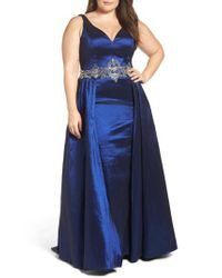 Mac Duggal - Blue Embellished Waist Taffeta Ballgown - Lyst