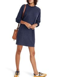 Madewell - Blue Bubble Sleeve Sweatshirt Dress - Lyst