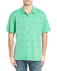 Tommy Bahama - Green Original Fit Jacquard Silk Camp Shirt for Men - Lyst