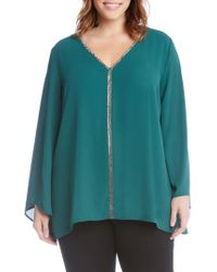 Karen Kane - Green Sparkle Bell Sleeve Top - Lyst