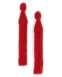 Oscar de la Renta - Red Long Tassel Drop Earrings - Lyst
