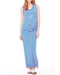 Ingrid & Isabel - Blue Striped Jersey Maternity Maxi Dress - Lyst