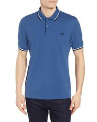 Fred Perry - White Extra Trim Fit Twin Tipped Pique Polo for Men - Lyst