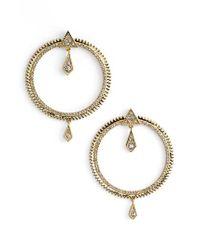 Luv Aj - Metallic Pave Frontal Hoop Earrings - Lyst