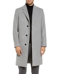 Theory - Gray Bower Melton Wool Blend Topcoat for Men - Lyst