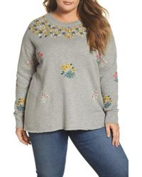 Lucky Brand - Gray Embroidered Sweatshirt - Lyst