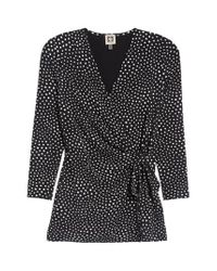 Anne Klein - Black Dot Print Faux Wrap Top - Lyst