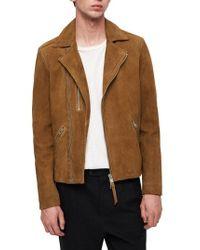AllSaints - Brown Judd Slim Fit Leather Biker Jacket for Men - Lyst