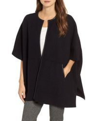 Eileen Fisher - Black Boiled Wool Poncho Jacket With Leather Trim - Lyst