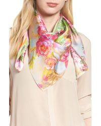 Echo - Pink Painted Tulip Square Silk Scarf - Lyst