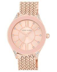 Anne Klein - Pink Mesh Strap Watch - Lyst