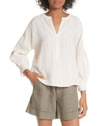 Joie - White Bekette Collarless Stripe Linen Blouse - Lyst