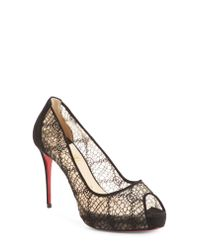 Christian Louboutin - Multicolor Very Lace Peep Toe Pump - Lyst