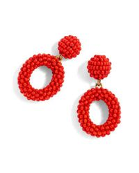 J.Crew - Red J.crew Mini Beaded Drop-hoop Earrings - Lyst