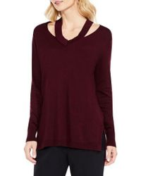 Vince Camuto | Purple Cutout Neck Sweater | Lyst