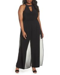 Marina - Black Mock Neck Jumpsuit - Lyst