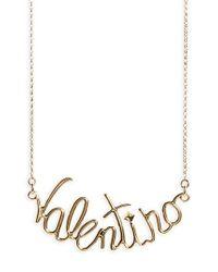 Valentino - Metallic Script Necklace - Lyst