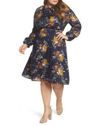 Lucky Brand - Blue Tie Neck Floral Print Dress - Lyst