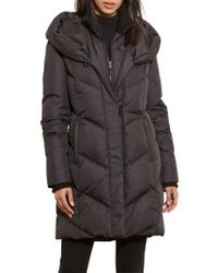 Lauren by Ralph Lauren Black Quilted Hooded Coat With Knit Trim