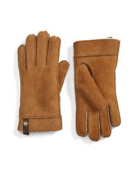 UGG | Brown Ugg Australia 'tenney' Genuine Shearling Gloves | Lyst