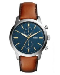 Fossil | Multicolor Townsman Chronograph Leather Strap Watch & Wallet Set for Men | Lyst