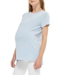 TOPSHOP - Blue Stripe Maternity Tee - Lyst
