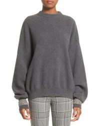 Alexander Wang | Gray Crystal Cuff Wool Blend Sweater | Lyst