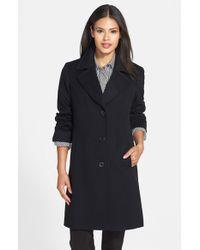 Fleurette | Black Notch Collar Wool Walking Coat | Lyst
