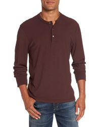 James Perse | Purple Classic High Twist Jersey Henley for Men | Lyst