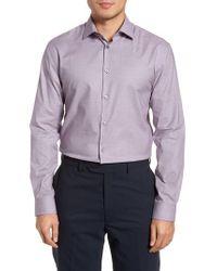 John Varvatos - Purple Slim Fit Stretch Microdot Dress Shirt for Men - Lyst