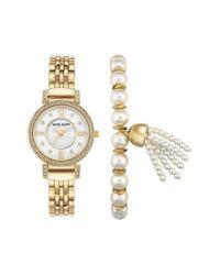 Anne Klein | Metallic Crystal Watch & Tassel Bracelet Set | Lyst