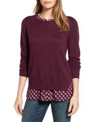 NYDJ | Purple Layered Look Sweater | Lyst