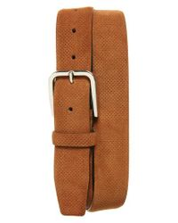 Canali - Brown Perforated Suede Belt for Men - Lyst