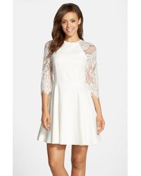 BB Dakota | White 'yale' Lace Panel Fit & Flare Dress | Lyst