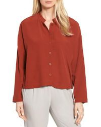 Eileen Fisher - Red Mandarin Collar Boxy Top - Lyst