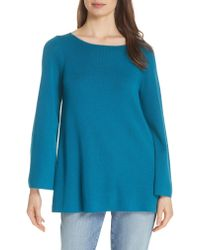 Eileen Fisher - Blue Bateau Neck Merino Wool Tunic Top - Lyst