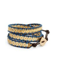 Nakamol - Metallic Chain & Leather Wrap Bracelet - Lyst