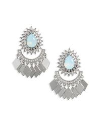 TOPSHOP - Metallic Sparkle Diamond Shape Dangle Earrings - Lyst