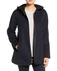 Ellen Tracy   Black Faux Leather Trim Duffle Coat   Lyst