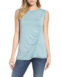 Caslon - Blue Caslon Off-duty Shirred Sleeveless Tee - Lyst
