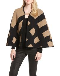 Burberry - Black Blanket Check Wool & Cashmere Poncho - Lyst