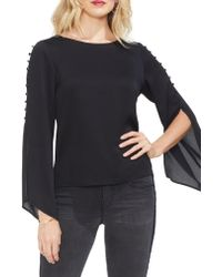 Vince Camuto - Blue Button Bell Sleeve Hammer Satin Top - Lyst