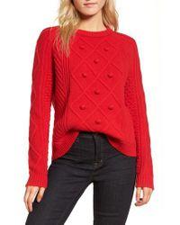 J.Crew | Red Hawthorne Cable Pom-pom Sweater | Lyst