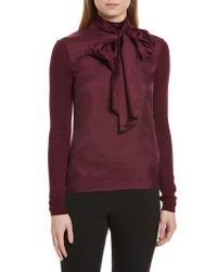 Ted Baker - Purple Babri Tie Neck Mixed Media Sweater - Lyst