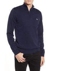 Lacoste - Blue Quarter Zip Pullover for Men - Lyst