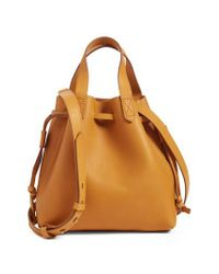 Madewell - Brown The Mini Pocket Transport Leather Drawstring Tote - Lyst