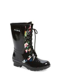Roma - Black Epaga Floral Waterproof Rain Boots - Lyst