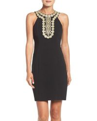 Taylor Dresses - Black Stretch Sheath Dress - Lyst