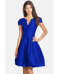 Halston - Black Cotton & Silk Fit & Flare Dress - Lyst