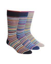 Bugatchi - Blue 3-pack Cotton Blend Socks, Black for Men - Lyst